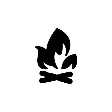 campfire with firewood icon. Simple sign, logo. fireWood in fire. Bonfire. Camp fireplace