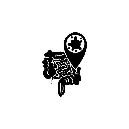 Virus, bacteria and intestines, bowel icon, symbol, sign. coronavirus, COVID-19 icon, logo black on white background. 2019-ncov