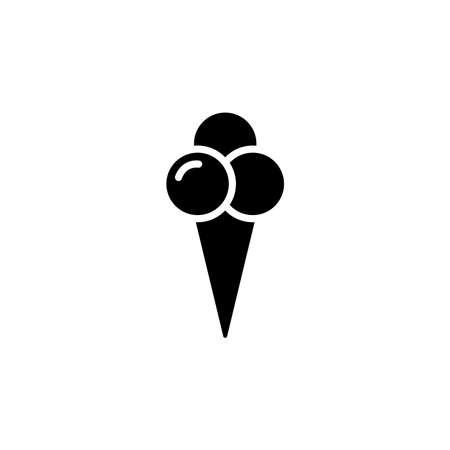 Ice cream in waffle cone in shape three balls icon. Simple sign, logo