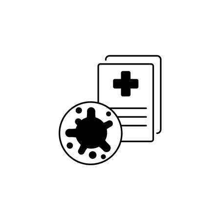 Virus, bacteria and medical form, document, certificate icon, symbol, sign. coronavirus, COVID-19 icon, logo black on white background. 2019-ncov simple