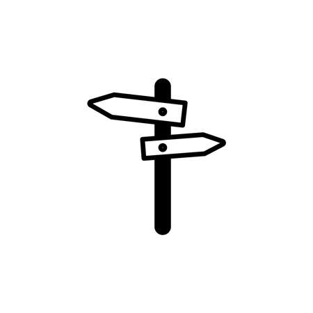 signpost, pointer icon. Simple sign, logo black on white