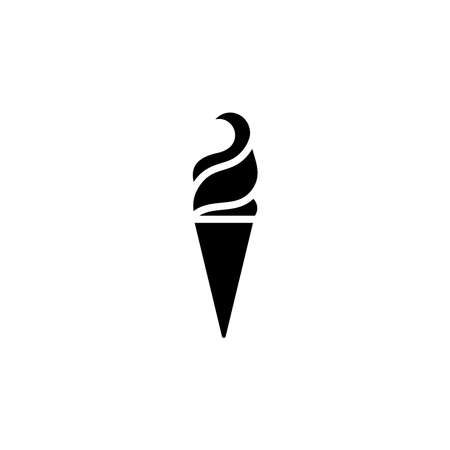 Ice cream in waffle cone icon. Simple sign, logo