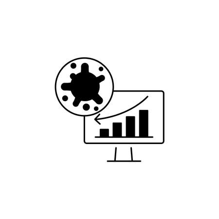 Virus, bacteria and schedule, chart, graph on monitor (board) icon, symbol, sign. coronavirus, COVID-19 icon, logo black on white background. 2019-ncov simple