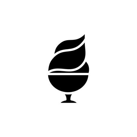 Ice cream in cup icon. dessert or sweetness in glass. simple sign, logo Illustration