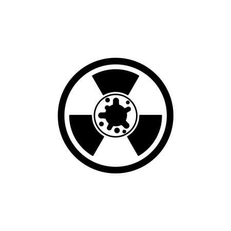 Virus, bacteria and radiation sign icon, symbol. coronavirus, COVID-19 icon, logo black on white background. 2019-ncov simple