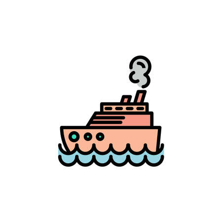 Steamship color, steamboat, Cruise sea ship icon thin line, linear, outline. Illustration