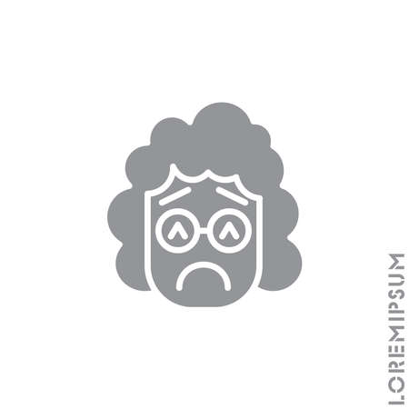 Sad and in a Bad Mood Emoticon girl, woman Icon Vector Illustration. Style. Depressed, sad, stressed emoji icon vector, emotion, sad symbol. Modern flat symbol web and mobil apps. gray on white background