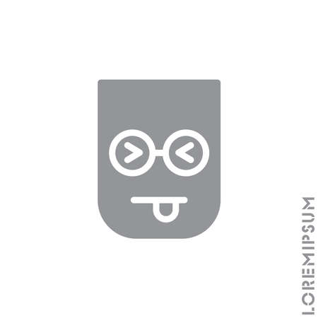 Squinting face with tongue icon. style sign for mobile concept and web design. Teasing shape emoticon vector icon. symbol, logo illustration. Vector graphics. Gray on white background