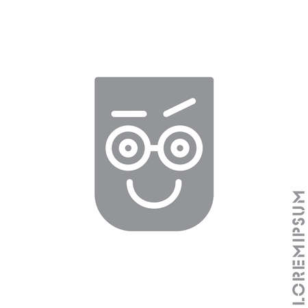 Big Smile contented smile with raised eyebrow Emoticon Icon Vector Illustration. Style. Laughing, emotion icon. Fun, face vector. Humor, smile, positive symbol. style sign. Gray on white background 矢量图像