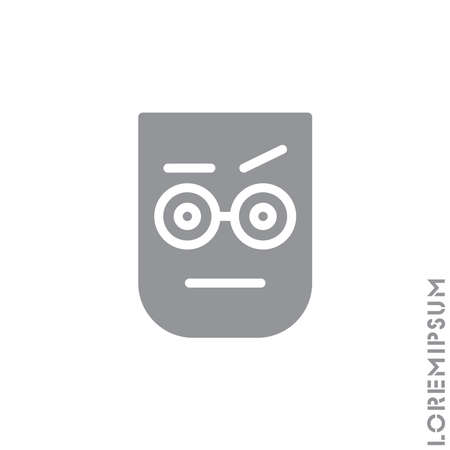 Confused Thinking Emoticon Icon Vector Illustration. Style. Gray on white background Illustration
