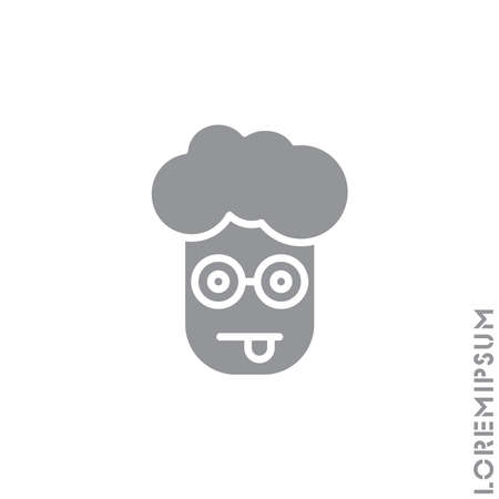 Mocking Funny Humor Emoticon boy, man Icon Vector Illustration. Style. gray on white background
