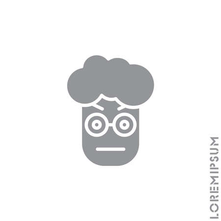 Confused Thinking Emoticon boy, man Icon Vector Illustration. Style. Whatever Face Emoticon Icon Vector Illustration. Angry icon vector. gray on white background  イラスト・ベクター素材