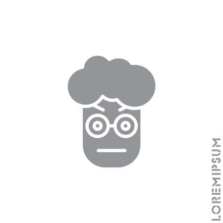 Confused Thinking Emoticon boy, man Icon Vector Illustration. Style. Whatever Face Emoticon Icon Vector Illustration. Angry icon vector. gray on white background Illustration