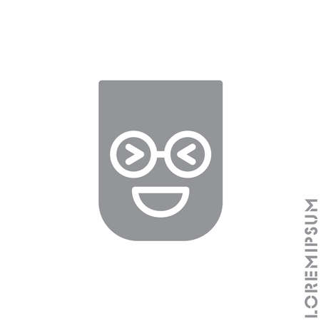 Emoticon vector icon on white background. vector emoticon icon symbol sign from modern user interface collection for mobile concept and web apps design. Laugh, emoji icon vector, emotion, fun symbol. Gray on white background