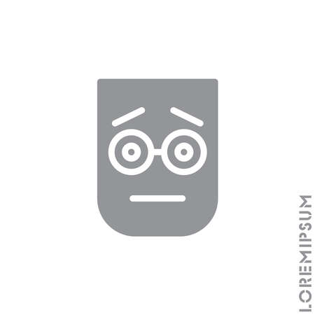 cute emoticon sticker, vector illustration. Embarrassed Shy Blushing Face Emoticon Icon Vector Illustration. Gray on white background