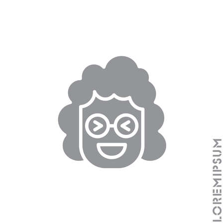 Emoticon vector girl, woman icon on white background. vector emoticon icon symbol sign from modern user interface collection for mobile concept and web apps design. Laugh, emoji icon vector, emotion. Gray on white background Ilustração