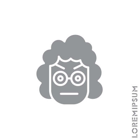 Confused Thinking Emoticon girl, woman Icon Vector Illustration. Style. Whatever Face Emoticon Icon Vector Illustration. Angry icon vector. gray on white background