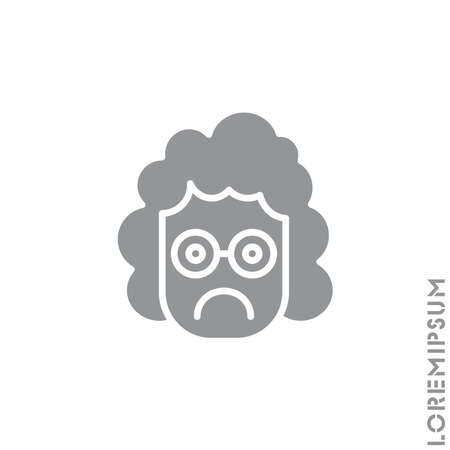 Sad girl, woman icon vector, emoticon symbol. Modern symbol for web and mobile apps. Very Sad Emoticon Icon Vector Illustration. Style. gray on white background