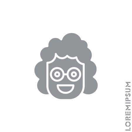 Positive icon girl, woman vector, emoticon symbol. Modern flat symbol for web and mobile apps. admiration, joy Smile icon. Happy, laughing, emotions icon. Simple vector expression. Gray on white background