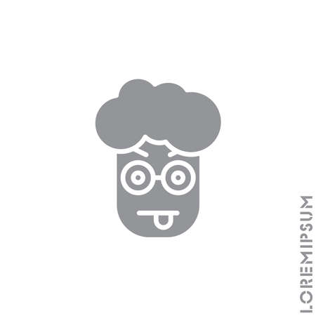 Mocking teasing and angry boy, man icon. showing tongue and frowning eyebrows Emoticon Icon Vector Illustration. Style. gray on white background