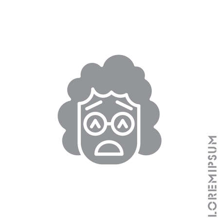 Sad Give Up Tired Emoticon girl, woman Icon Vector Illustration. Style. Very Sad Cry Stressful Emoticon Icon Vector Illustration. gray on white background