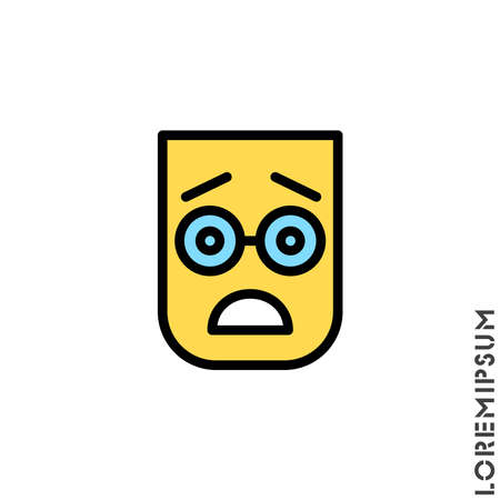 Frowning with open mouth emoji color vector icon with raised eyebrows. frowning with open mouth emoji icon, vector simple element illustration from editable emoji concept isolated
