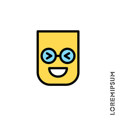 Emoticon color vector icon on white background. vector emoticon icon symbol sign from modern user interface collection for mobile concept and web apps design. Laugh, emoji icon vector, emotion, fun symbol.