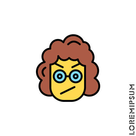 Angry girl, woman yellow icon vector. Furious Face Emoticon Icon Vector Illustration. Style. Иллюстрация