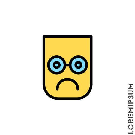 Sad color icon vector, emoticon symbol. Modern symbol for web and mobile apps. Very Sad Emoticon Icon Vector Illustration. Style. Illusztráció