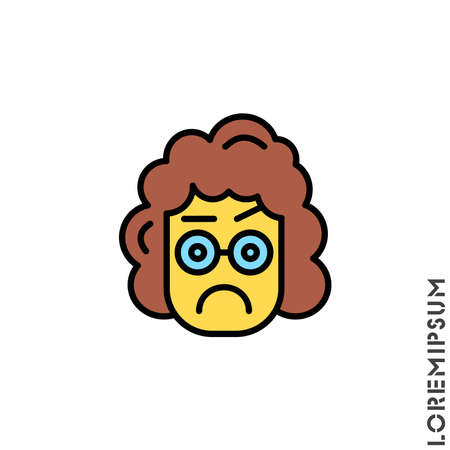 Thinking face emoji yellow girl, woman icon. style sign for mobile concept and web design. Emoji pondering face simple vector icon. Symbol, logo illustration. Pixel vector confused Standard-Bild - 157155108