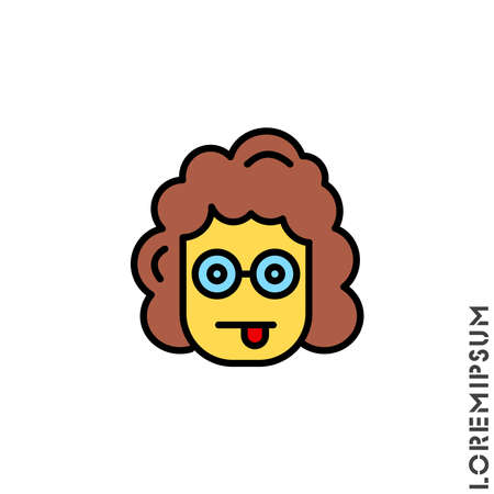 Mocking Funny Humor Emoticon yellow girl, woman Icon Vector Illustration. Style. Standard-Bild - 157155115