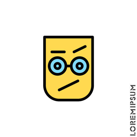 Sad and Confused with a raised eyebrow Emoticon color Icon Vector Illustration. Style. Seductive Smile. Angry icon vector Standard-Bild - 157155117