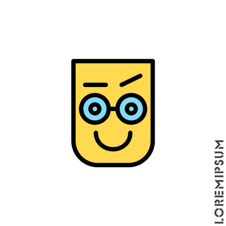 Big Smile contented color smile with raised eyebrow Emoticon Icon Vector Illustration. Style. Laughing, emotion icon. Fun, face vector. Humor, smile, positive symbol. style sign Standard-Bild - 157155143