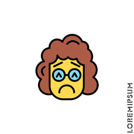 Sad and in a Bad Mood yellow Emoticon girl, woman Icon Vector Illustration. Style. Depressed, sad, stressed emoji icon vector, emotion, sad symbol. Modern flat symbol web and mobil apps
