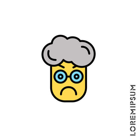 Angry yellow icon vector. Furious Face Emoticon boy, man Icon Vector Illustration. Style. Standard-Bild - 157155185