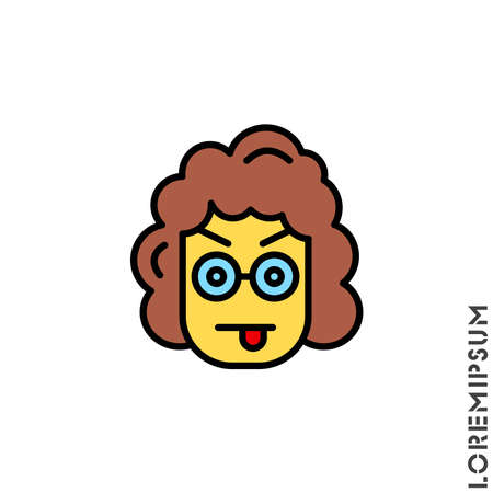 Mocking teasing and angry yellow girl, woman icon. showing tongue and frowning eyebrows Emoticon Icon Vector Illustration. Style.