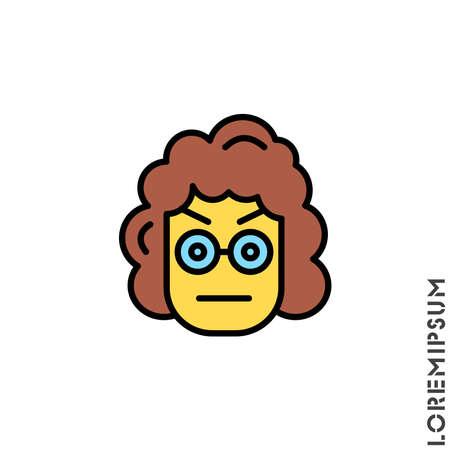 Confused Thinking Emoticon yellow girl, woman Icon Vector Illustration. Style. Whatever Face Emoticon Icon Vector Illustration. Angry icon vector Standard-Bild - 157155227