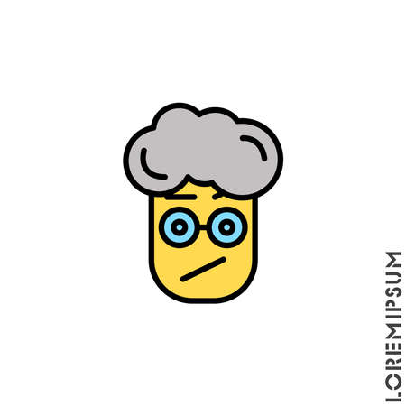 Sad and Confused with raised eyebrow yellow Emoticon boy, man Icon Vector Illustration. Style. Seductive Smile. Angry icon vector Standard-Bild - 157155258