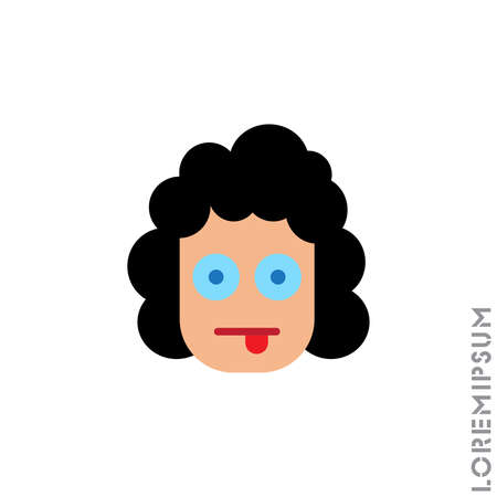Mocking Funny Humor Emoticon girl, woman Icon Vector Illustration. Style. color on white background Illustration