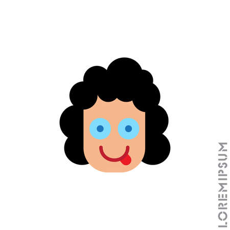 Playful smile girl, woman icon. Simple vector of emoji icons for ui and ux, website or mobile application. isolated with tongue out icon. color on white background 向量圖像