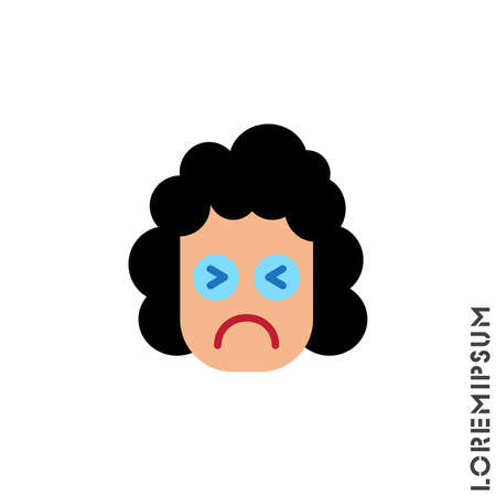 Sad Cry Stressful Emoticon girl, woman Icon Vector Illustration. Style. Angry icon vector, emotion symbol. Modern symbol for web and mobile apps web. color on white background 向量圖像