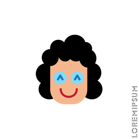 Smile icon girl, woman. Happy, laughing, emotions icon. Simple vector expression of mood icons for ui and ux, website or mobile application. Color on white background