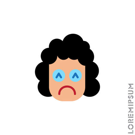 Depressed, sad, stressed emoji girl, woman icon vector, emotion, sad symbol. Modern flat symbol web and mobil apps. Sad Emoticon Icon Vector Illustration. Style. color on white background