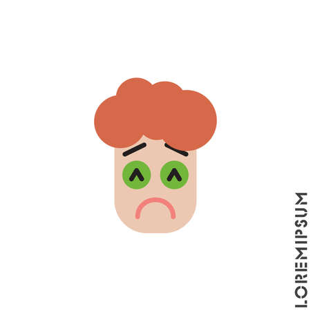 Sad and in Bad Mood Emoticon boy, man Icon Vector Illustration. color Style. Depressed, sad, stressed emoji icon vector, emotion, sad symbol. Modern flat symbol web and mobil apps
