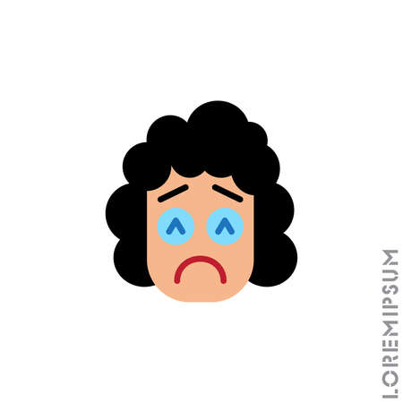 Sad and in Bad Mood Emoticon girl, woman Icon Vector Illustration. Style. Depressed, sad, stressed emoji icon vector, emotion, sad symbol. Modern flat symbol web and mobil apps. color on white background