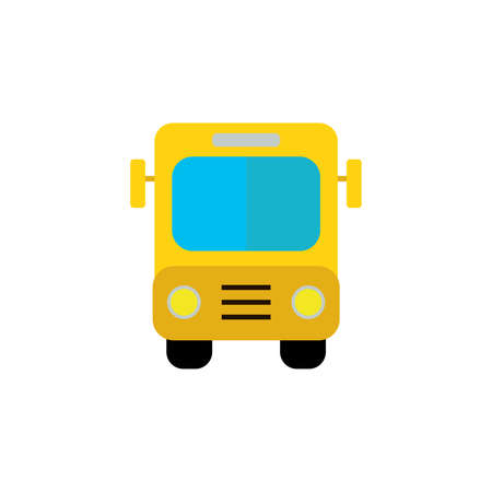 Bus yellow school color icon. Simple sign. Bus sign. Transport image. Public Navigation symbol for info graphics, websites and print media. style image. Vector color