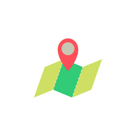 map pointer and map color icon vector. regional map, location Simple sign. 向量圖像