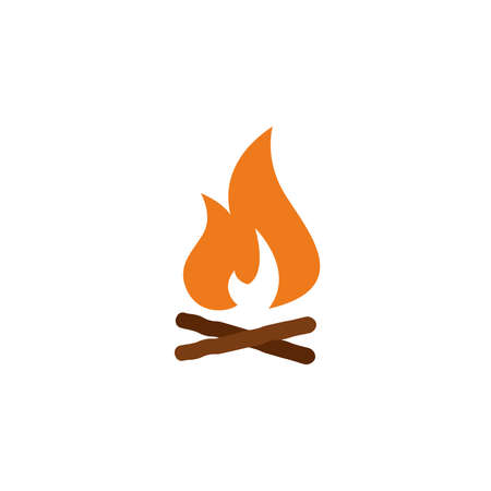 campfire with firewood color icon vector. Simple sign. fireWood in fire. Bonfire. Camp fireplace