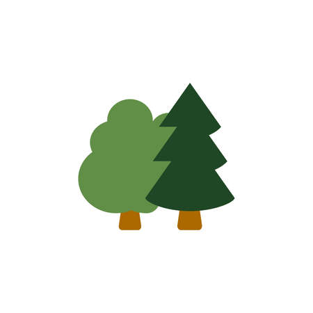 Deciduous and coniferous tree color. Forest. icon green vector. Simple sign. 向量圖像