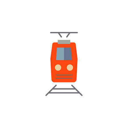 Train color icon vector front view. Simple sign.